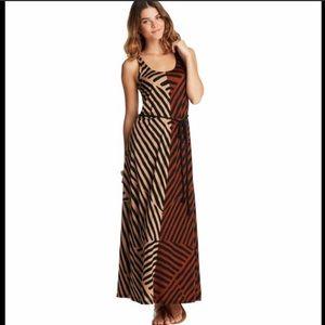 Loft color blocked tribal maxi dress